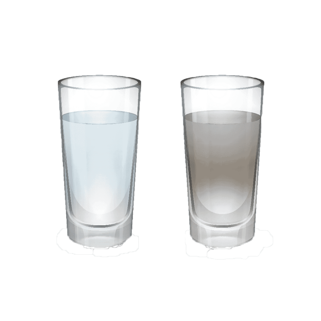 a clean glass of water vs a dirty glass of water